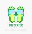 bath slippers thin line icon flip-flop shoes vector image