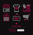 black friday sale thin line icons set vector image vector image