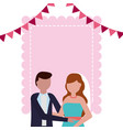 bride and groom wedding greeting card vector image vector image