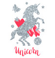 card with fantasy unicorn and silver glitter vector image vector image
