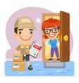 cartoon deliveryman and customer vector image