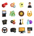 Casino gambling games flat icons set vector image vector image