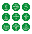 Cbd oil icons set including thc free 100 natural