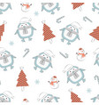 christmas seamless pattern with penguin vector image vector image