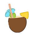 coconut pina colada cocktail icon vector image