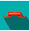 Columbus Day ribbon flat icon vector image vector image