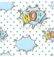 comic speech bubble wow seamless pattern vector image vector image