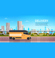 delivery truck over modern city background on road vector image