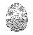 easter coloring page sunset in egg shape vector image vector image