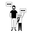 father and son family speech bubble vector image