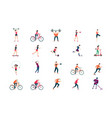 fitness people flat icon set sport man and woman vector image