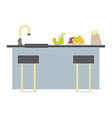 Flat Design Island Kitchen Interior Design vector image vector image