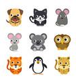 funny animal cartoon icon set vector image