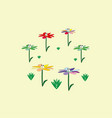 funny flowers bright with eyes vector image