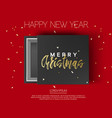 gift box with merry christmas and happy new year vector image vector image