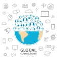 Global connections line vector image