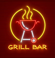grill bar neon icon equipment vector image