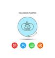 halloween pumpkin icon scary smile sign vector image vector image