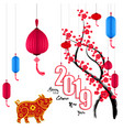 happy new year 2019 chienese new year year of the vector image