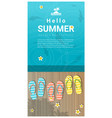 hello summer background with sandals vector image vector image