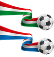 italy and france flag with soccer ball vector image vector image