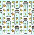 leaves and bottles seamless pattern autumn vector image vector image
