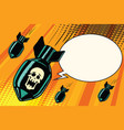 Mass bombing shouting no skeleton vector image