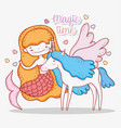 mermaid woman and cute unicorn with wings vector image