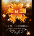 orange christmas bow on holiday background vector image vector image