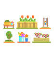 park and garden elements set flowerbeds with vector image