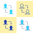 peer to peer transaction icon set in flat and line vector image
