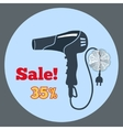 Professional black blow hairdryer icon Blowdryer vector image