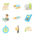 rear icons set cartoon style vector image vector image