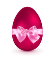 Red egg with pink bow vector image vector image