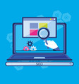 search engine optimization with laptop vector image vector image