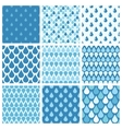 Set of blue water drops seamless patterns vector image vector image