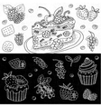 Set of chalk drawn on a blackboard food vector image vector image