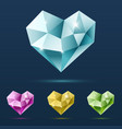 set of colorful hearts with reflections vector image vector image