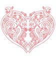 Swirly heart tatoo inspired cutout card vector image vector image