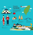 traveling to taiwan by landmarks map vector image vector image