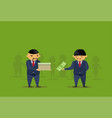 two asian business men put dollar in box donation vector image vector image