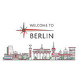welcome to berlin poster in linear style vector image vector image