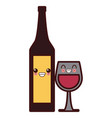 wine cup and bottle kawaii cute cartoon vector image vector image