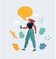woman talking smartphone vector image vector image