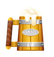 wooden beer mug foam 3d cartoon oktoberfest vector image