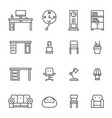 work room furniture thin line icons vector image
