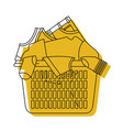 yellow watercolor silhouette of laundry basket vector image vector image