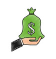 hand with bag money business finance vector image