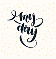 modern hand drawn lettering phrase my day vector image