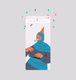 arabic woman in festive hat celebrating online vector image vector image